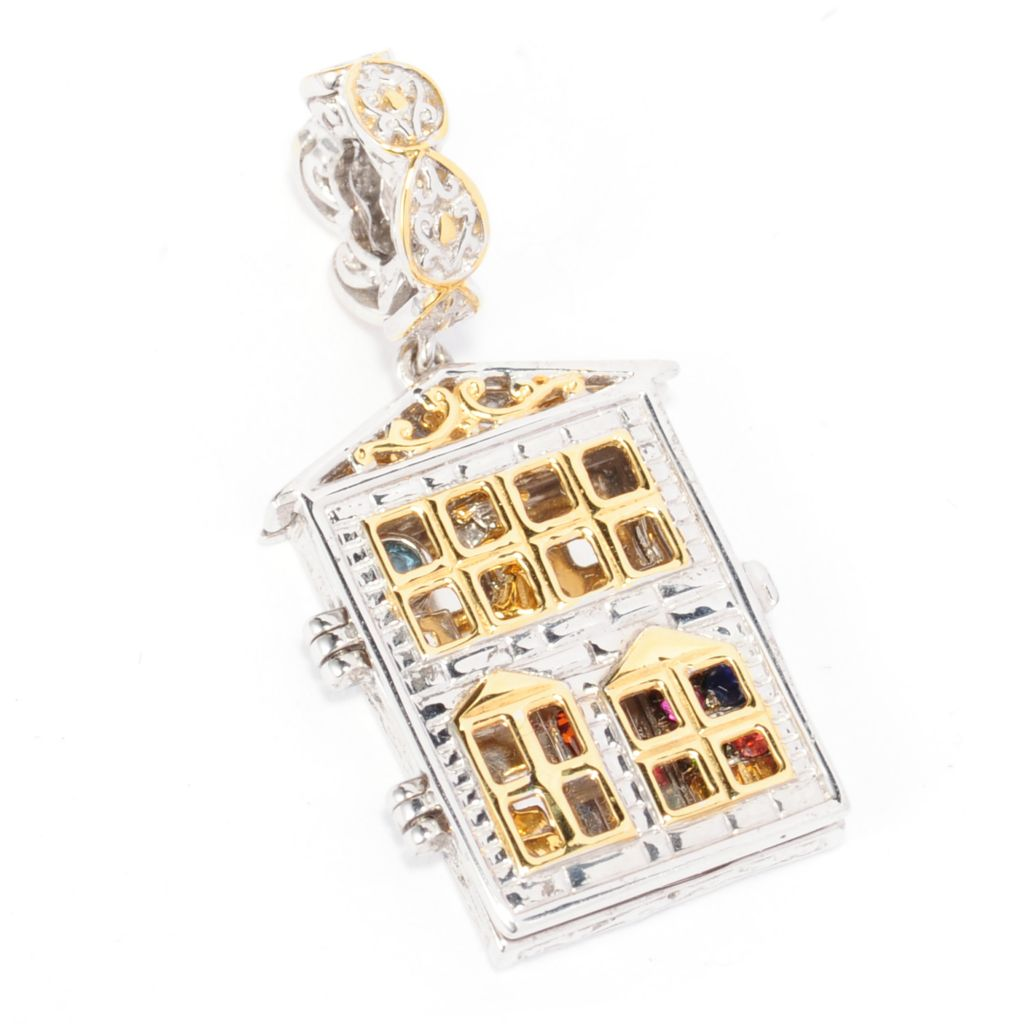 138-028 - Gems en Vogue II Multi Gemstone Hinged Dollhouse Drop Charm