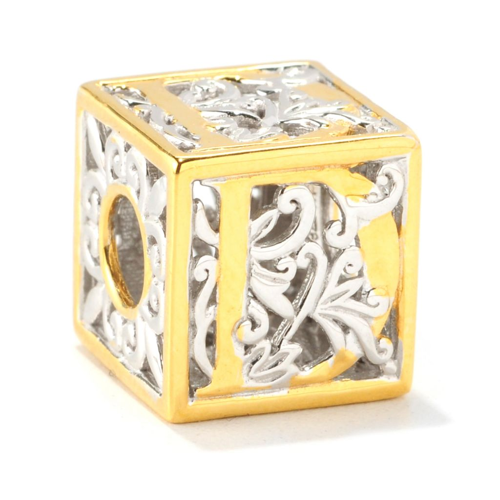 138-030 - Gems en Vogue Two-tone Initial Cube Slide-on Charm