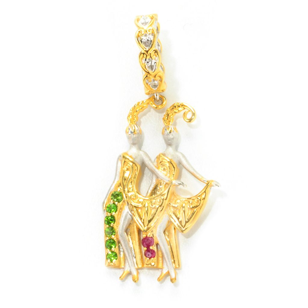 "138-033 - Gems en Vogue Chrome Diopside & Ruby ""Las Vegas Dancing Ladies"" Drop Charm"