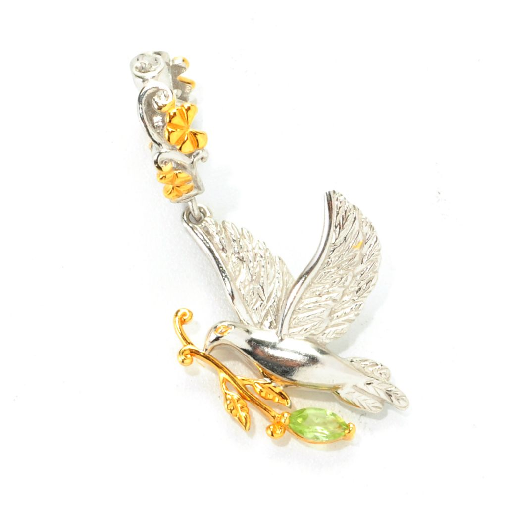 138-040 - Gems en Vogue II Peridot Peace Dove & Olive Branch Drop Charm