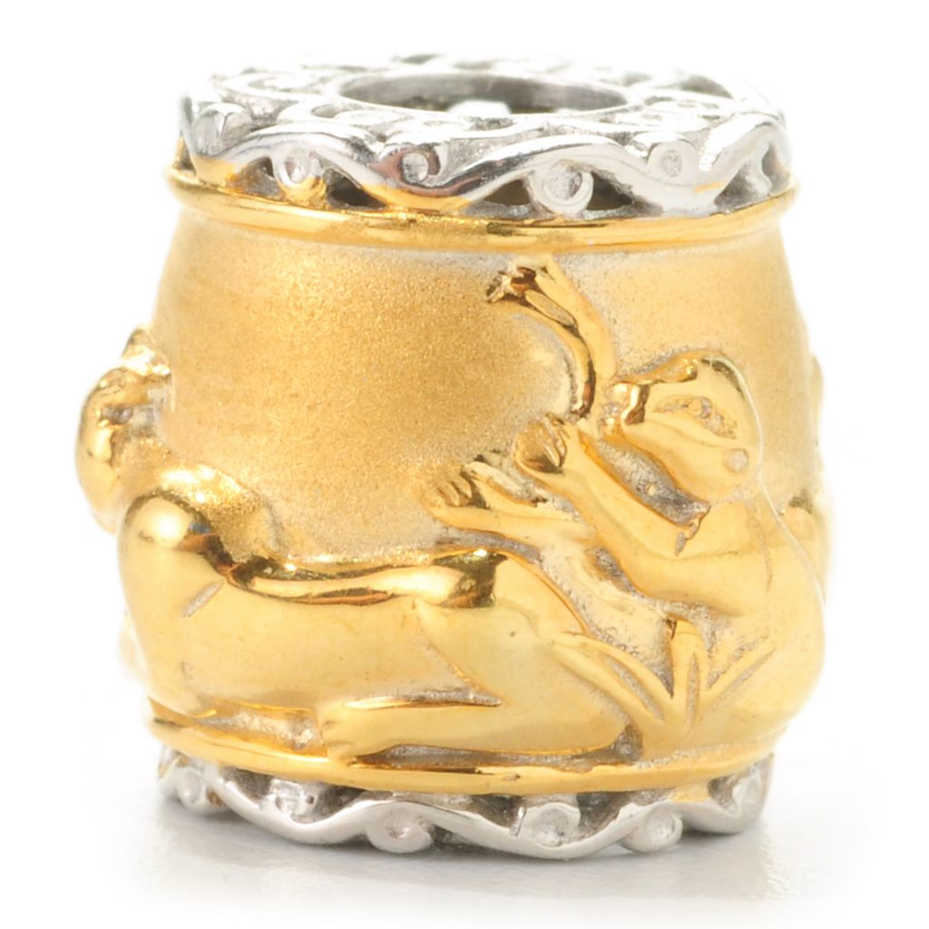 138-041 - Gems en Vogue Two-tone Sculpted Lion Safari Slide-on Charm