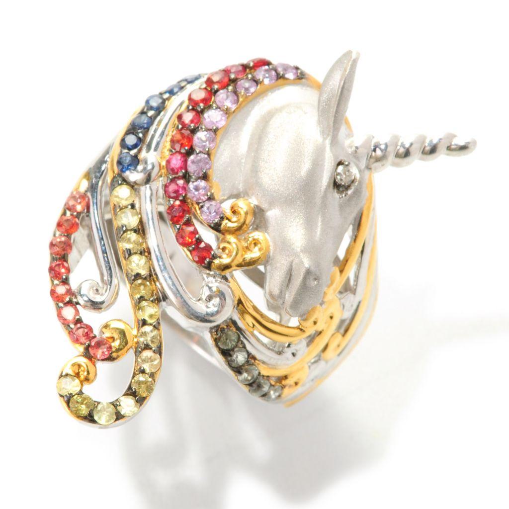 138-042 - Gems en Vogue 1.05ctw Multi Sapphire & Diamond Sculpted Unicorn Polished Ring