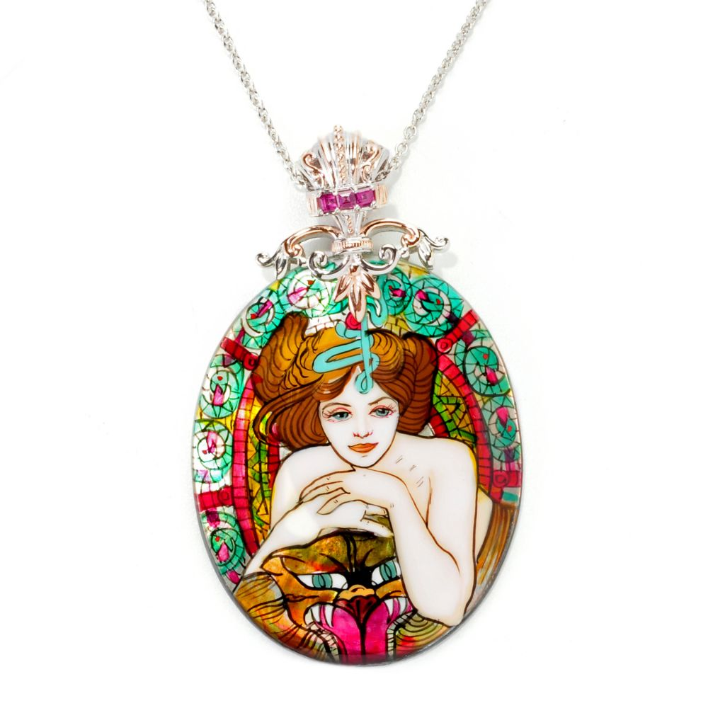 "138-044 - Gems en Vogue II 50 x 40mm Hand-Painted Mother-of-Pearl ""Empress"" Pendant"