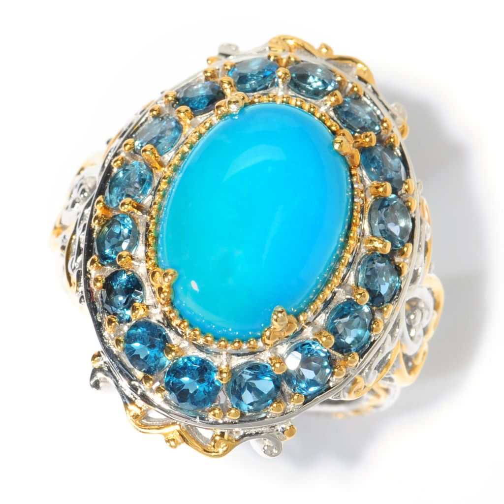 138-045 - Gems en Vogue II 14 x 10mm Oval Sleeping Beauty Turquoise & London Blue Topaz Ring