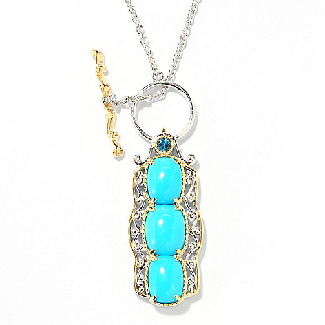 138-046 - Gems en Vogue 18'' Sleeping Beauty Turquoise & London Blue Topaz Toggle Necklace