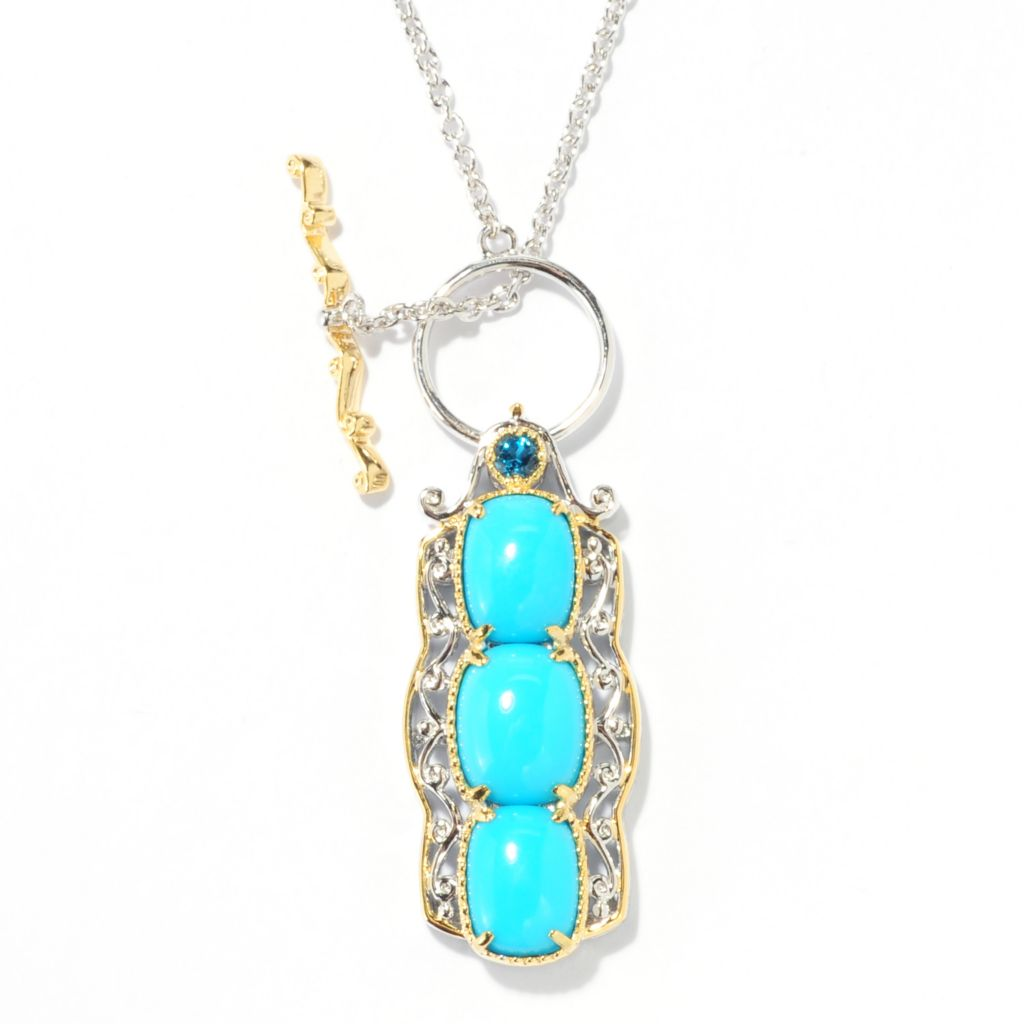 "138-046 - Gems en Vogue 18"" Sleeping Beauty Turquoise & London Blue Topaz Toggle Necklace"