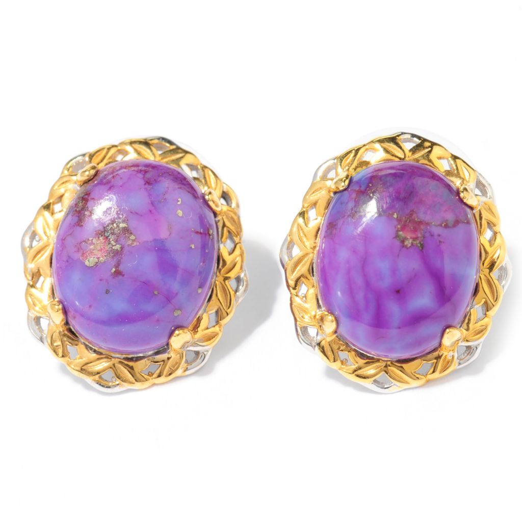 138-047 - Gems en Vogue 11 x 9mm Oval Purple Mohave Turquoise Stud Earrings