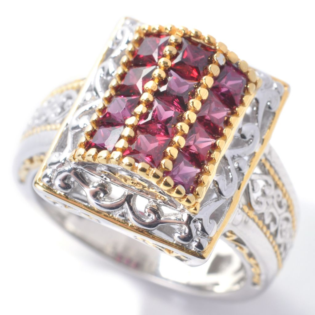 138-049 - Gems en Vogue 1.20ctw Princess Cut Arizona Anthill Garnet Ring
