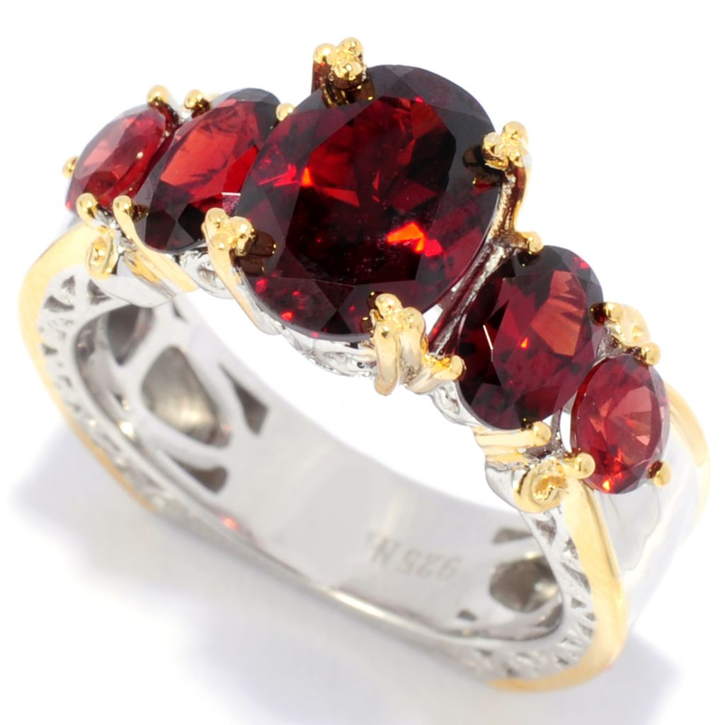 138-050 - Gems en Vogue 4.11ctw Idaho Garnet Graduated Band Ring