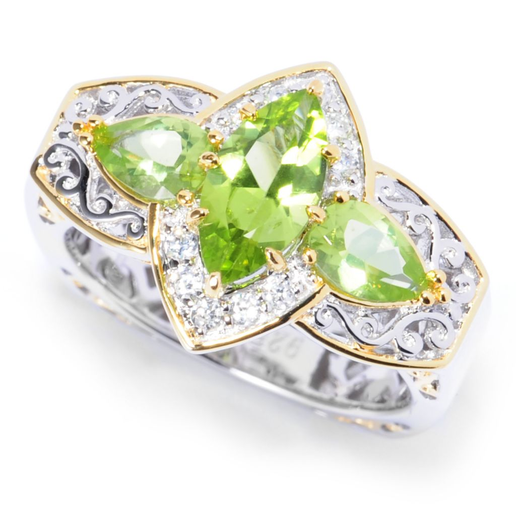 138-051 - Gems en Vogue II 2.28ctw Multi Shape Arizona Peridot & White Zircon Ring