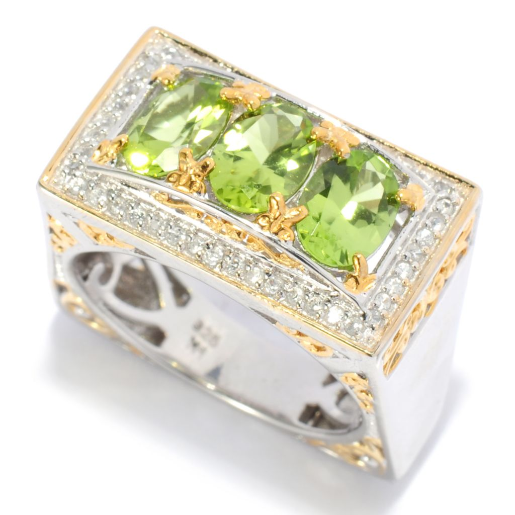 138-052 - Gems en Vogue 2.78ctw Oval Arizona Peridot & White Zircon Wide Band Ring