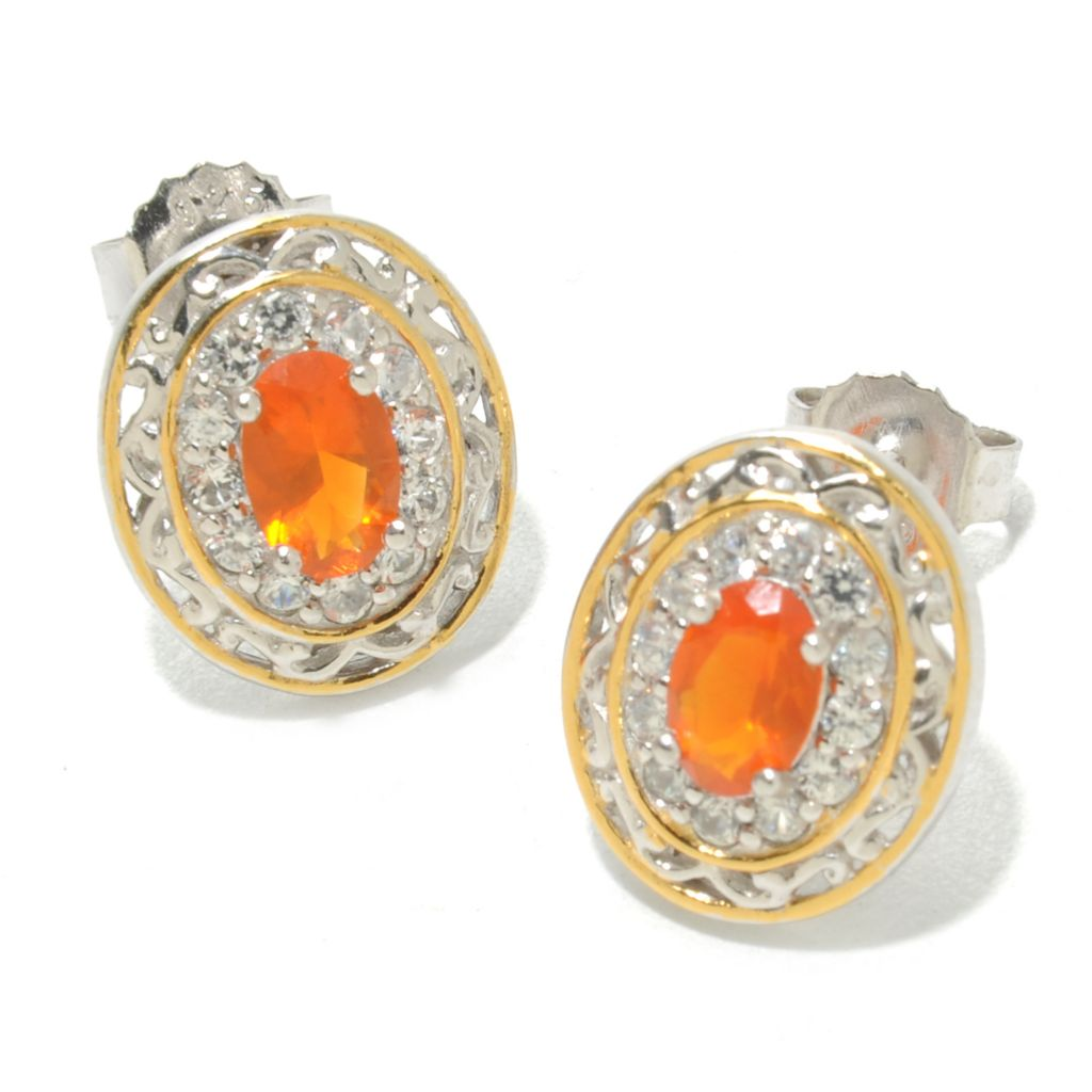 138-055 - Gems en Vogue II 1.26ctw Oval Oregon Fire Opal & White Zircon Stud Earrings