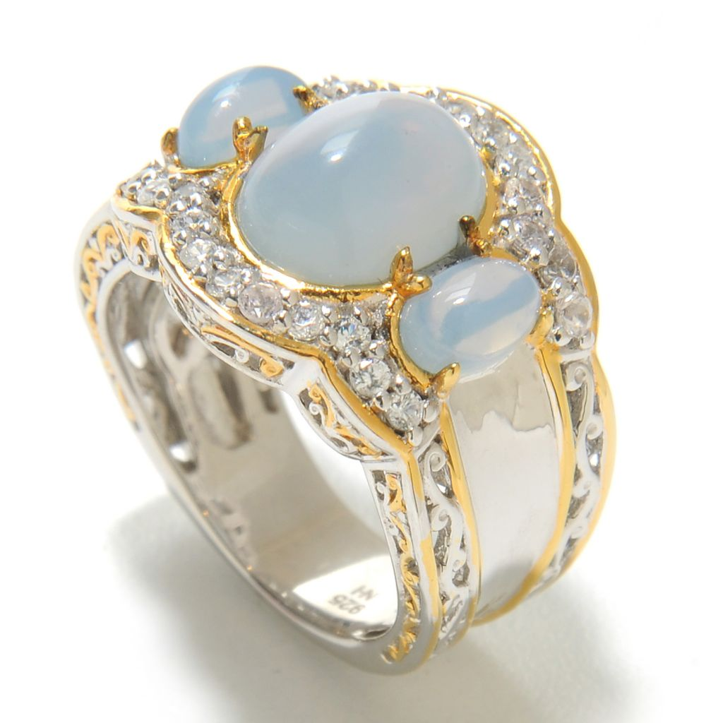 138-056 - Gems en Vogue II 10 x 8mm Oregon Blue Opal & White Zircon Three-Stone Ring