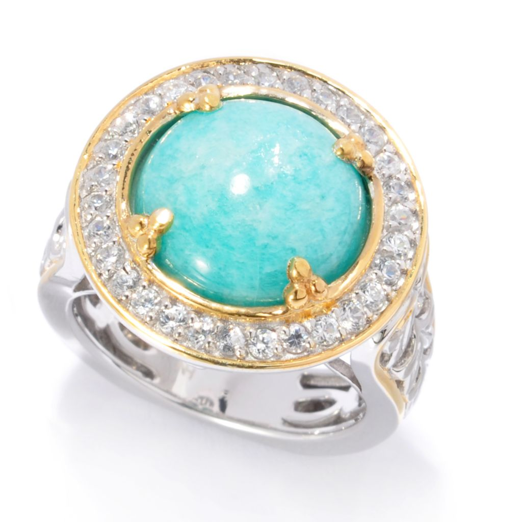 138-060 - Gems en Vogue 12mm Round Virginia Amazonite & White Zircon Halo Ring