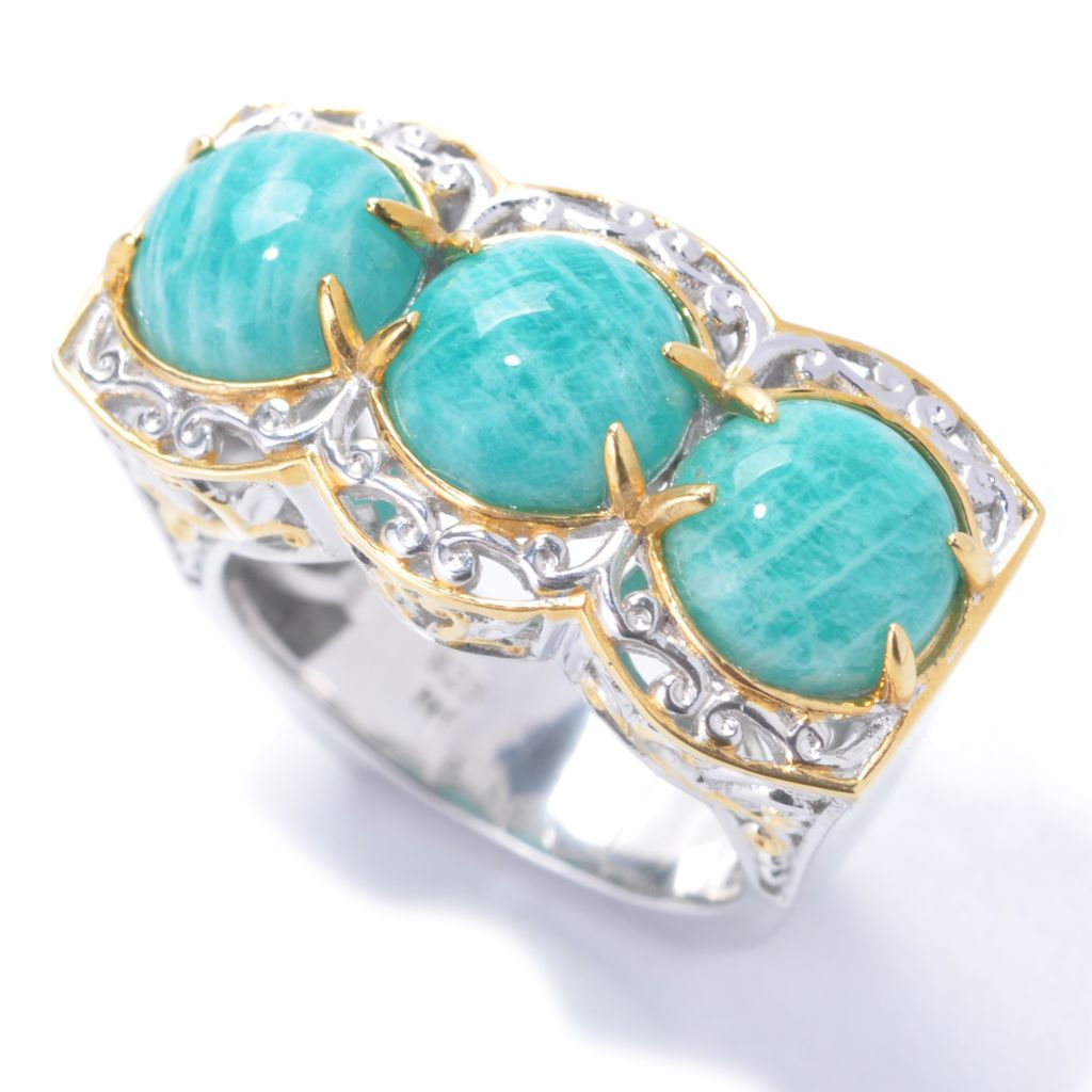 138-061 - Gems en Vogue II Virginia Amazonite Three-Stone Band Ring