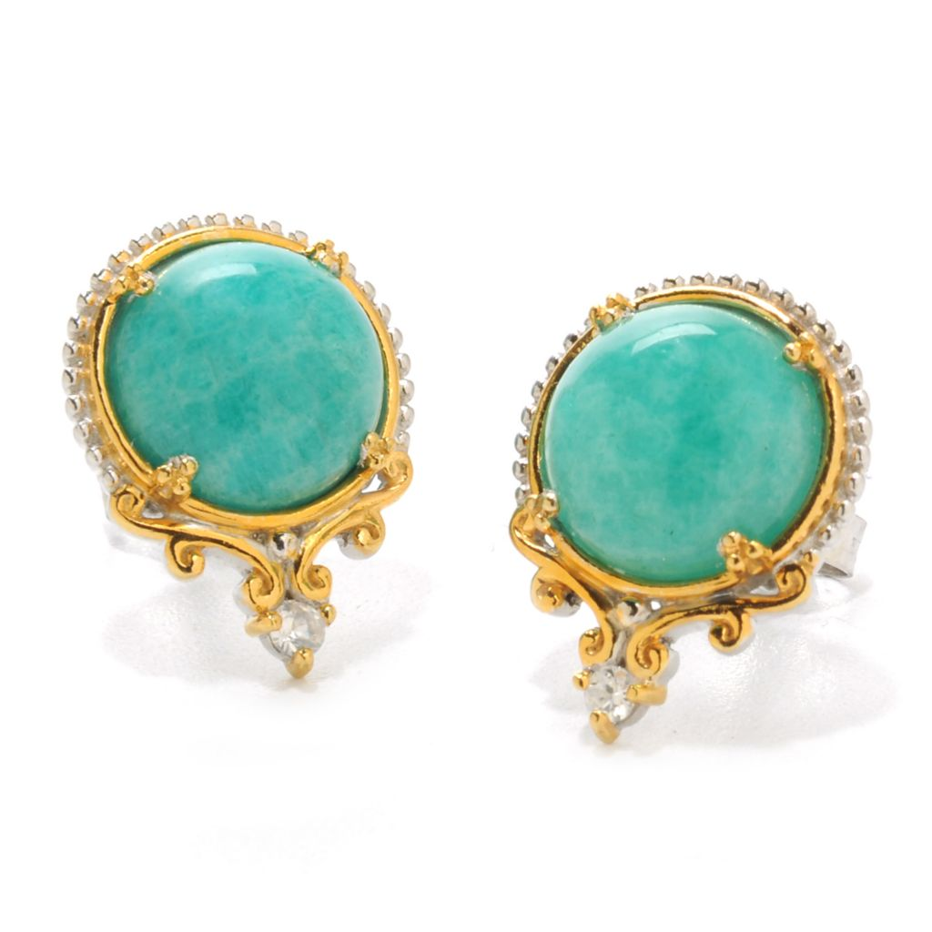 138-062 - Gems en Vogue 10mm Round Virginia Amazonite & White Zircon Stud Earrings