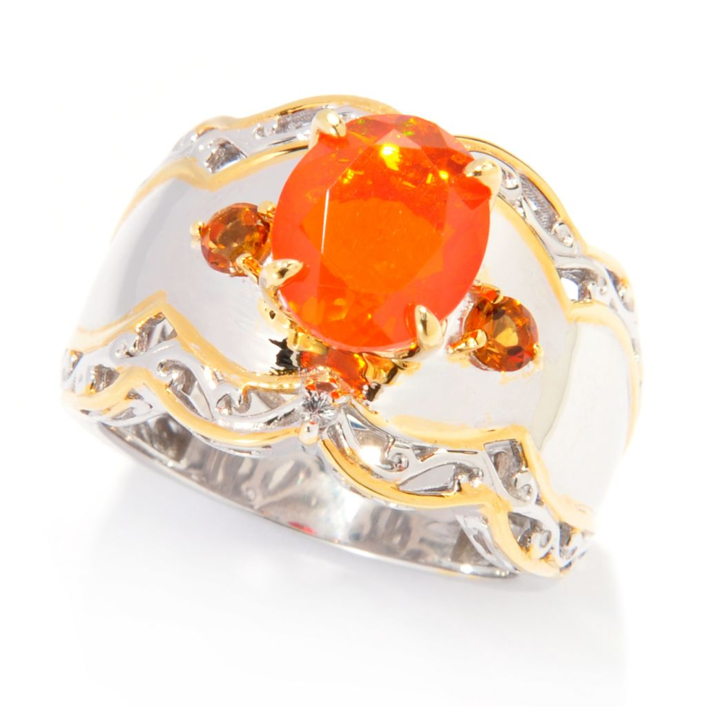138-064 - Gems en Vogue 10 x 8mm Dyed Orange Ethiopian Opal & Multi Gem Wide Band Ring