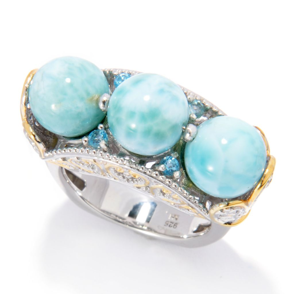 138-065 - Gems en Vogue Larimar Bead & Swiss Blue Topaz Three-Stone Ring