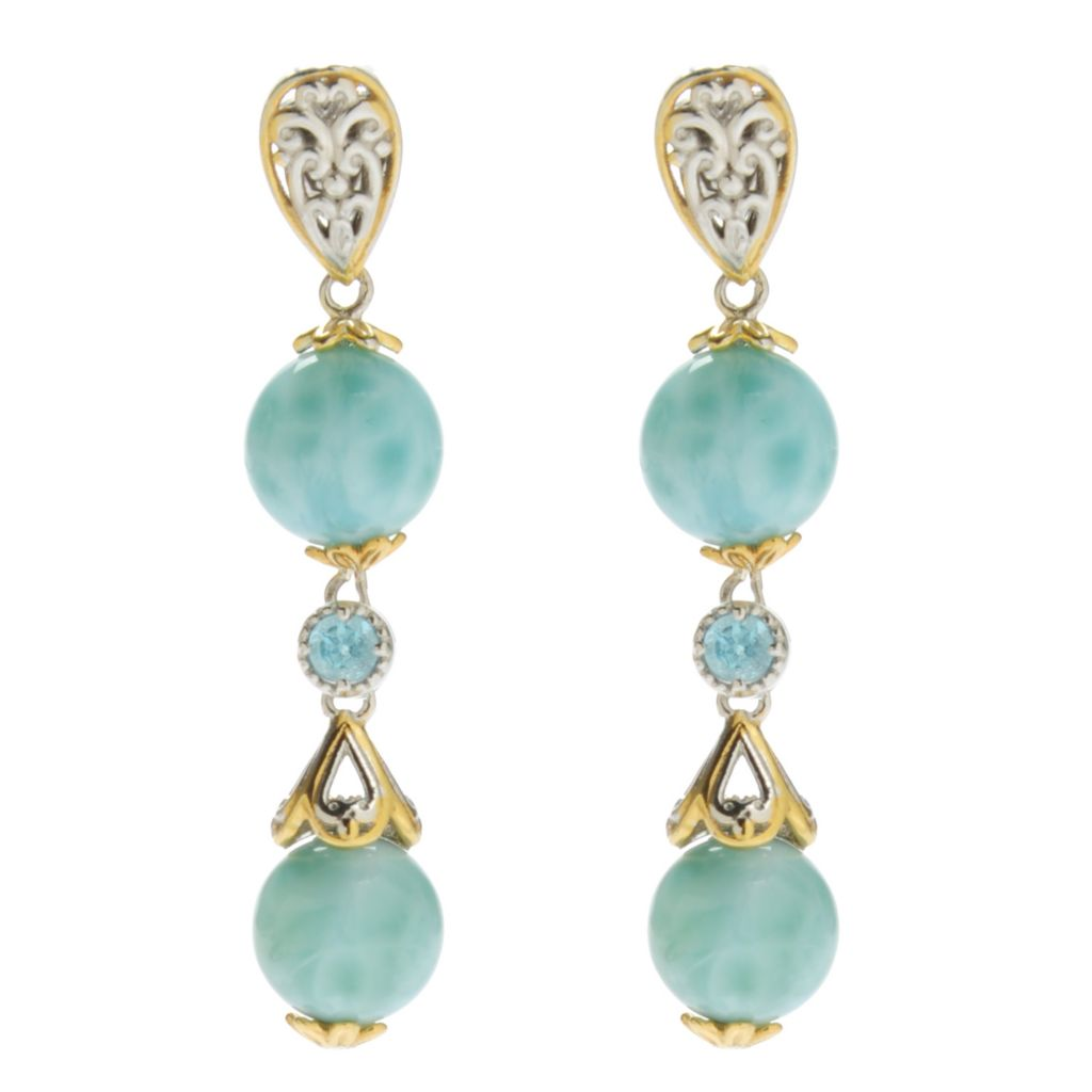 "138-066 - Gems en Vogue 1.5"" Round Larimar Bead & Swiss Blue Topaz Dangle Earrings"