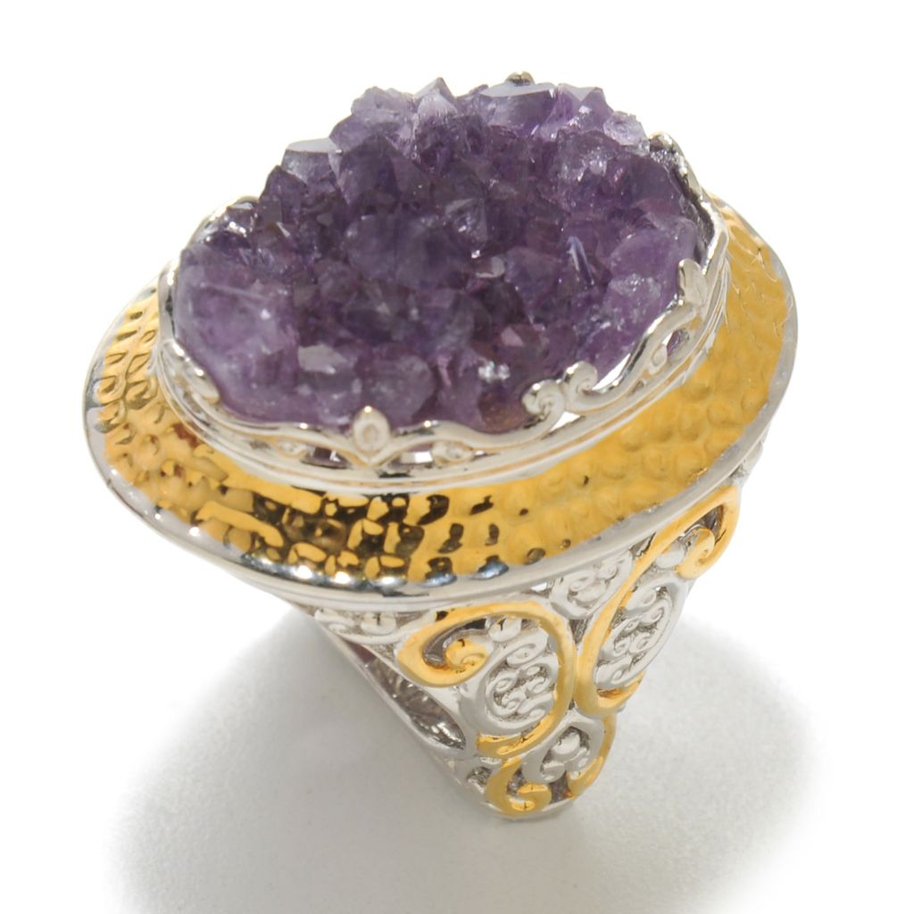138-067 - Gems en Vogue 20 x 15mm Oval Amethyst Stalactite Hammered Ring