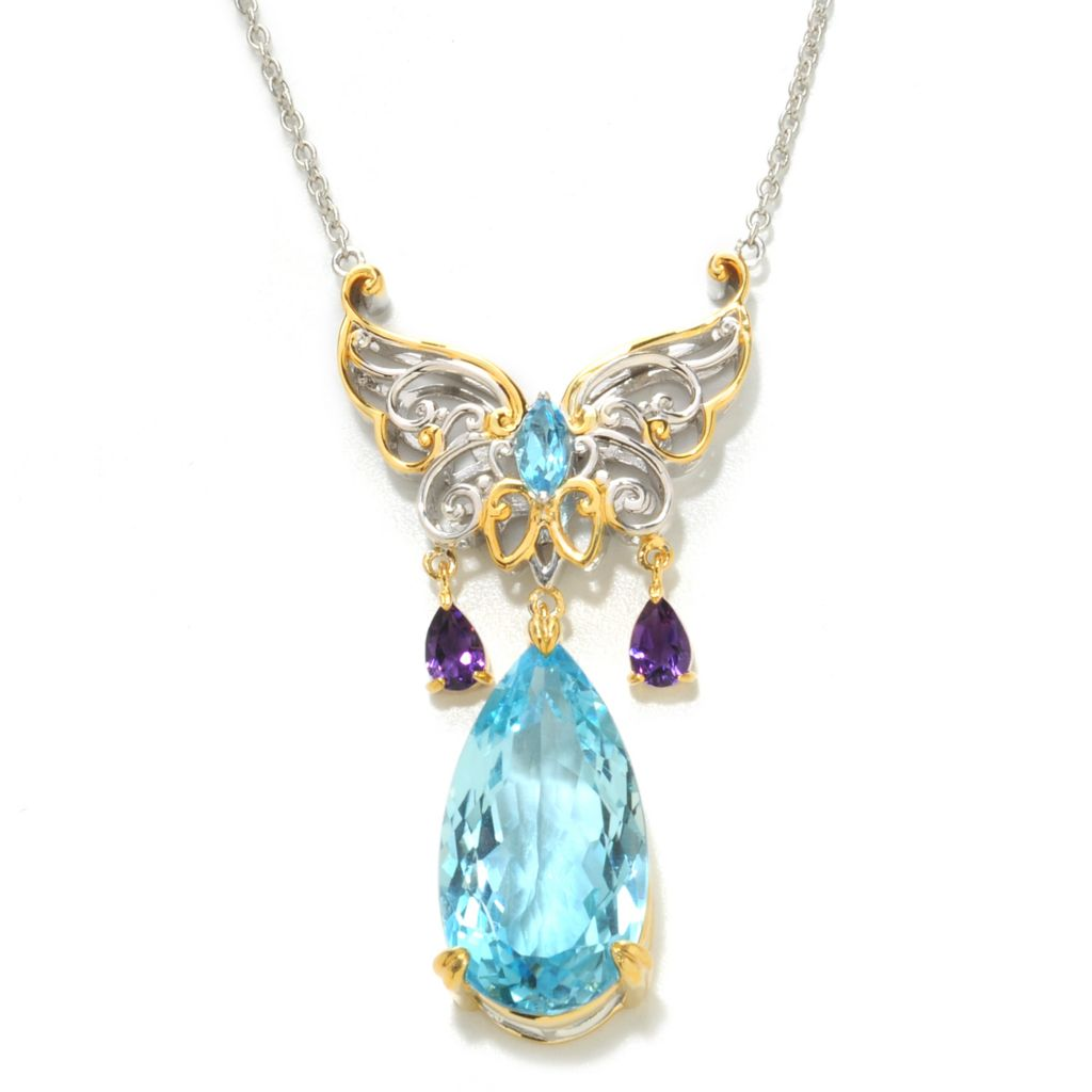 "138-068 - Gems en Vogue II 18"" 21.77ctw Pear Shaped Swiss Blue Topaz & Amethyst Butterfly Necklace"