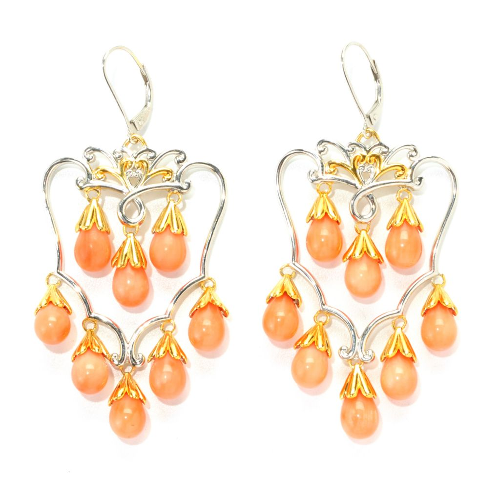 "138-070 - Gems en Vogue II 2.5"" Bamboo Coral Chandelier Earrings"