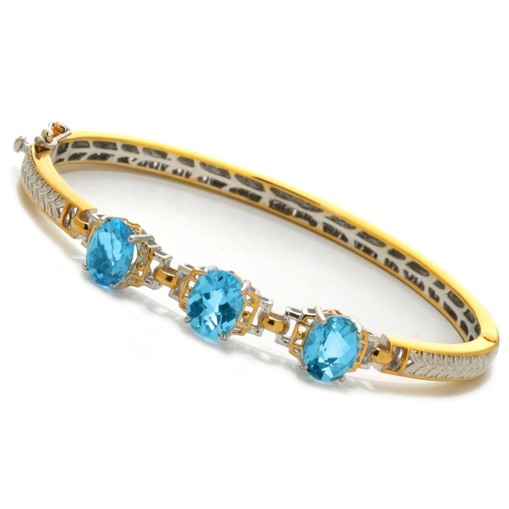 138-071 - Gems en Vogue II 6.00ctw Oval Sky Blue Topaz Three-Stone Hinged Bangle Bracelet