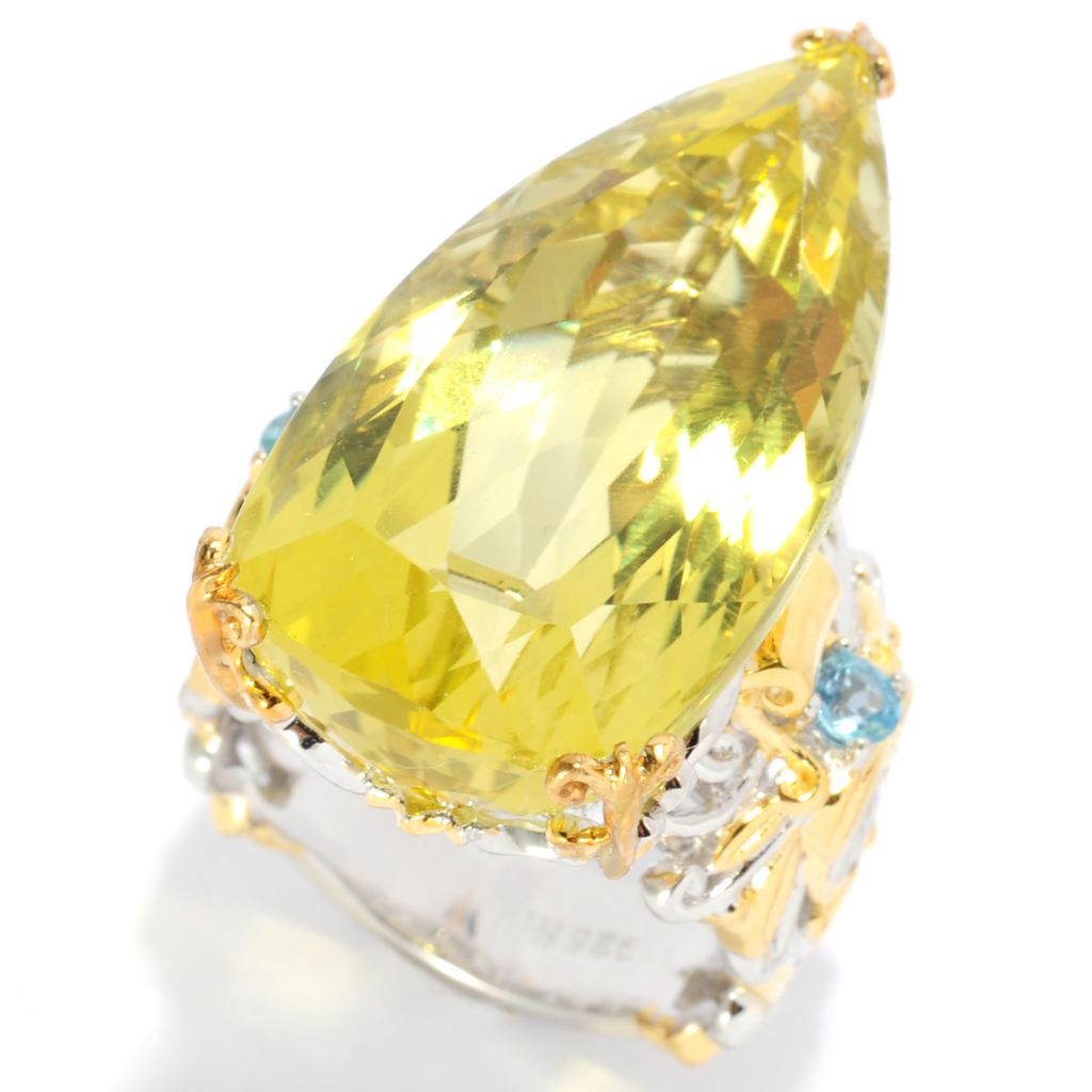 138-074 - Gems en Vogue II 29.22ctw Pear Shaped Ouro Verde & Swiss Blue Topaz Ring