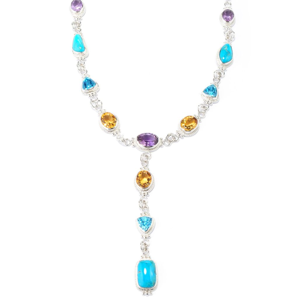 "138-078 - Gem Insider Sterling Silver 22.25"" Turquoise & Multi Gemstone Drop Necklace"
