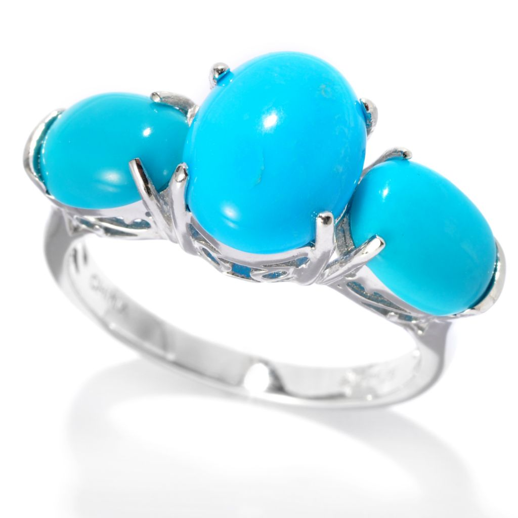 138-080 - Gem Insider Sterling Silver Sleeping Beauty Turquoise Three-Stone Ring