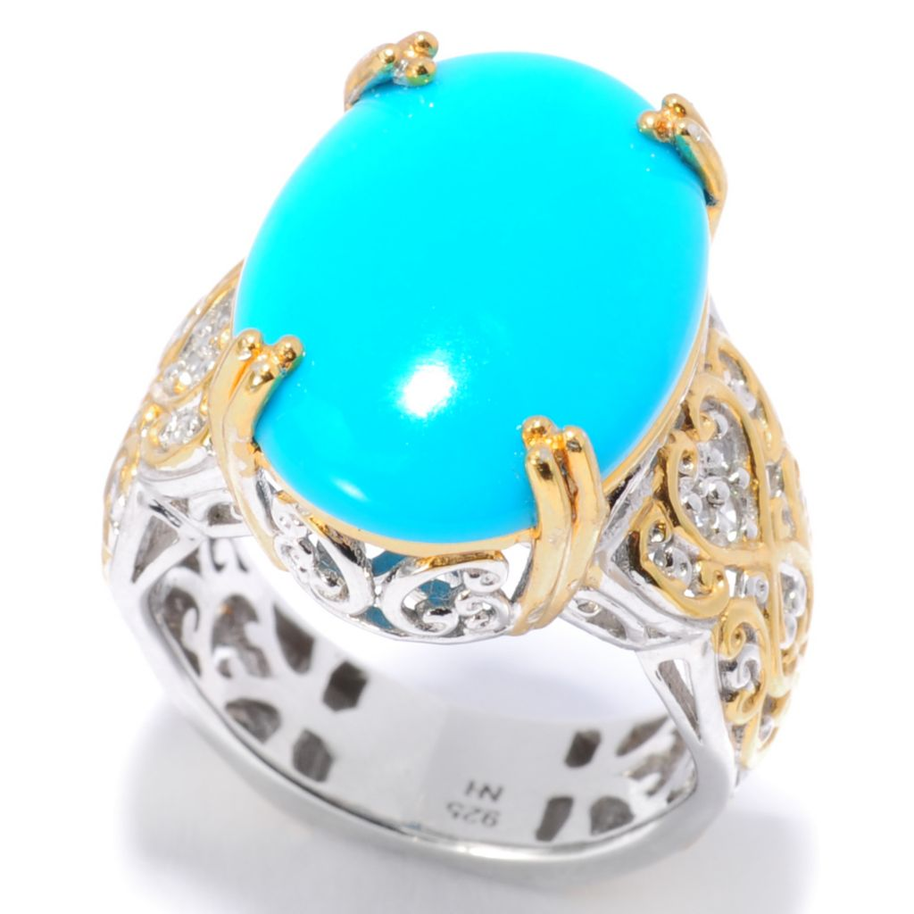 138-082 - Gems en Vogue II 18 x 13mm Oval Sleeping Beauty Turquoise & White Sapphire Ring