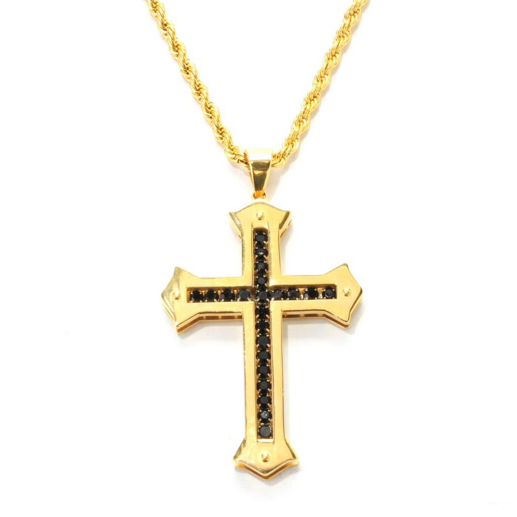 138-083 - Steeltime Men's Stainless Steel Black Simulated Diamond Cross Pendant w/ Chain