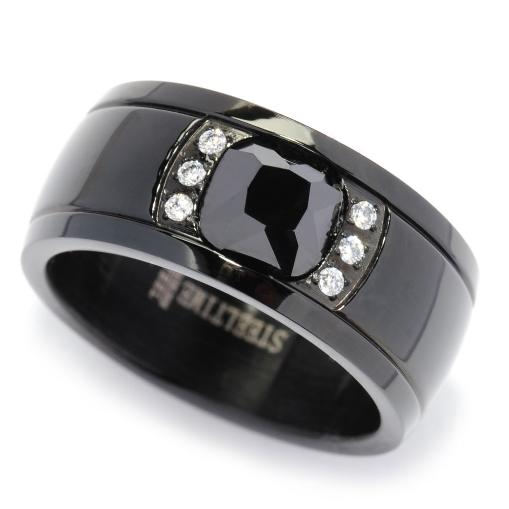 138-091 - Steeltime Men's Stainless Steel Black & White Simulated Diamond Band Ring