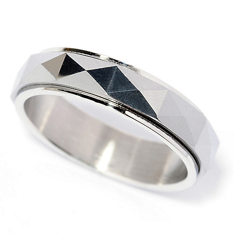 138-094 - Steeltime Men's Stainless Steel Faceted & Polished Spinner Band Ring