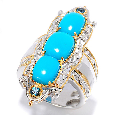 138-097 - Gems en Vogue Sleeping Beauty Turquoise & London Blue Topaz Elongated Ring