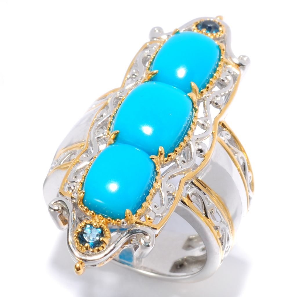 138-097 - Gems en Vogue II Sleeping Beauty Turquoise & London Blue Topaz Elongated Ring