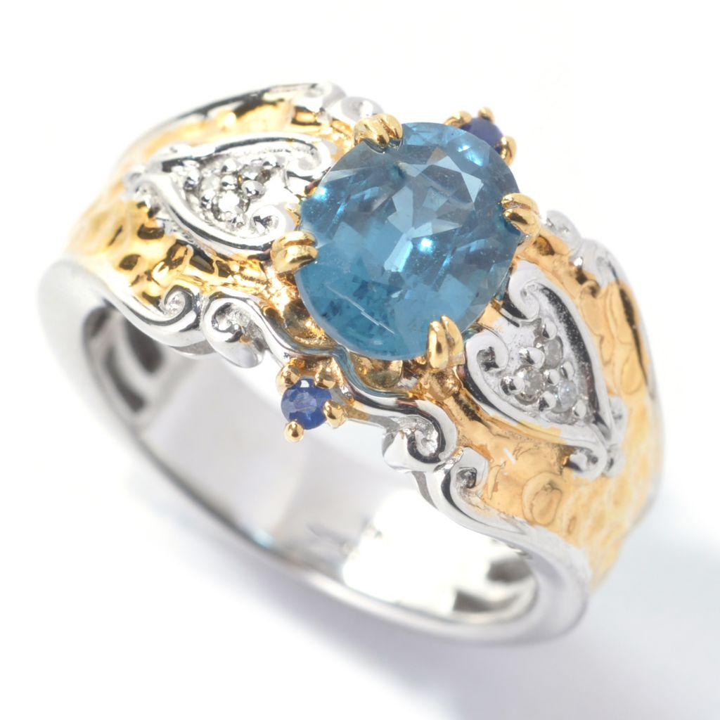 138-100 - Gems en Vogue II 1.52ctw Oval Teal Kyanite, Sapphire & Diamond Hammered Ring