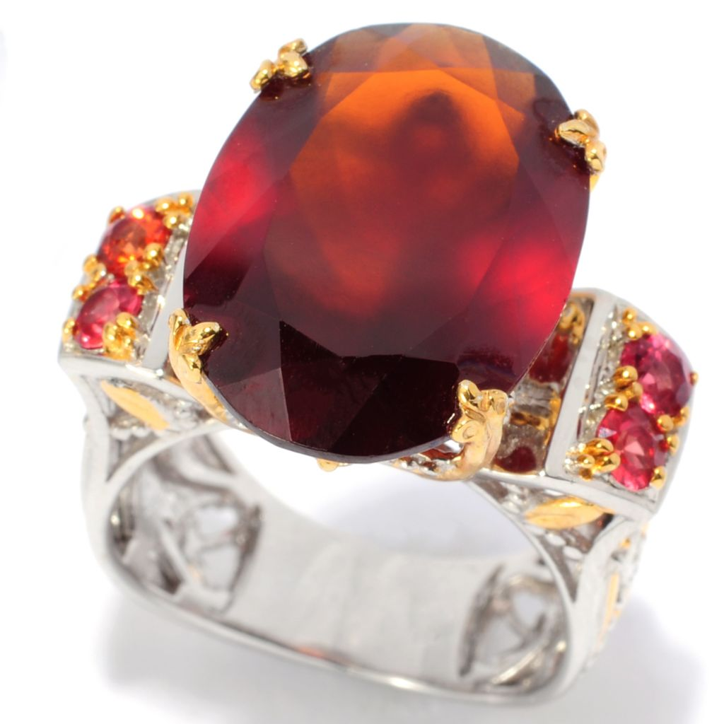 138-102 - Gems en Vogue II 12.38ctw Oval Hessonite, White Sapphire & Orange Sapphire Ring