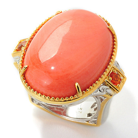 Gems en Vogue 25 x 18mm Oval Bamboo Coral & Fire Opal Polished Ring