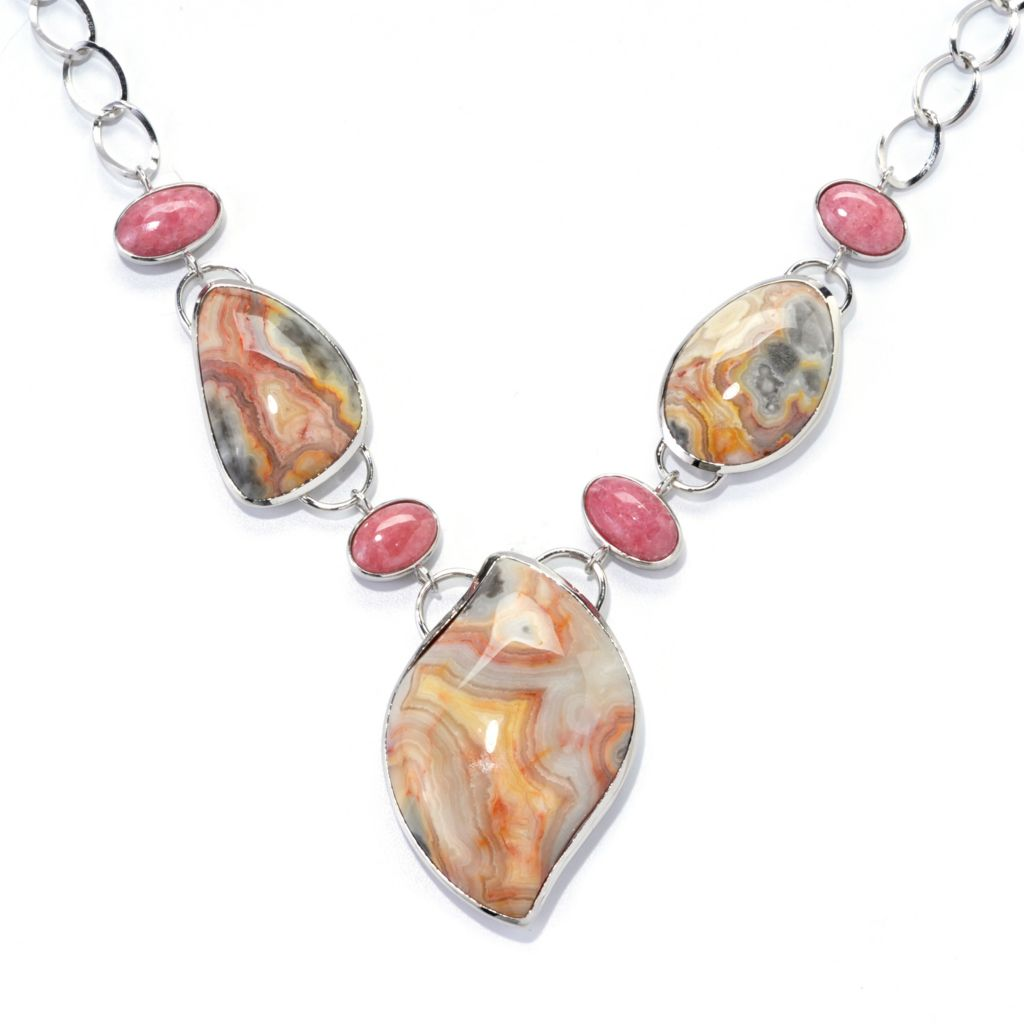 "138-106 - Gem Insider 20"" Sterling Silver Crazy Lace Agate & Rhodochrosite Drop Necklace"