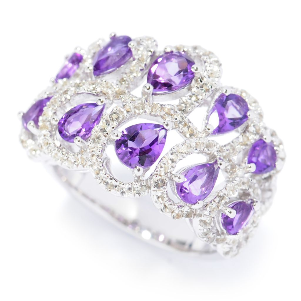 138-107 - Gem Insider Sterling Silver 2.82ctw Amethyst & White Topaz Two-Row Swirl Ring