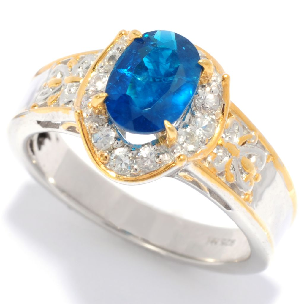 138-109 - Gems en Vogue II 1.57ctw Oval Indigo Apatite & White Sapphire Band Ring