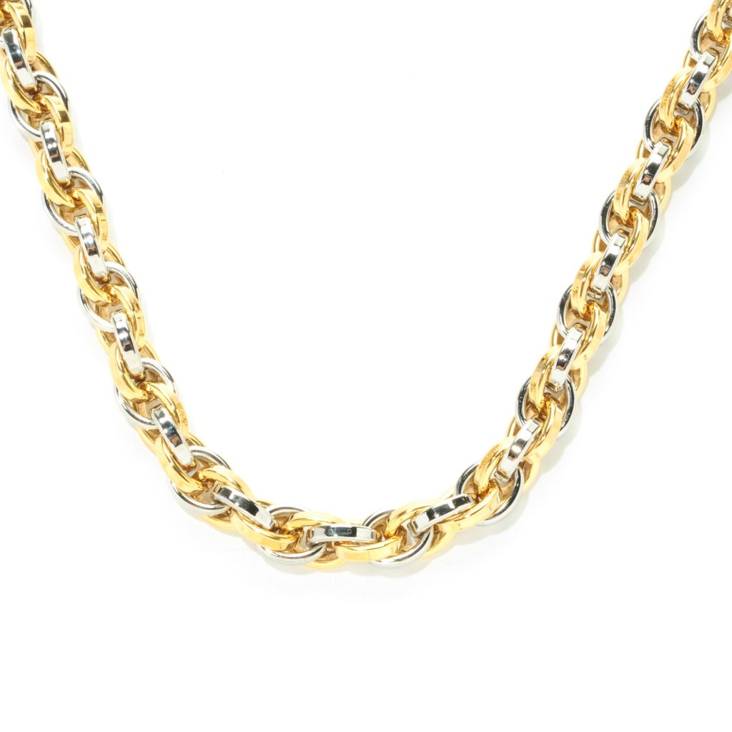 "138-111 - Steel Impact Men's Two-tone Stainless Steel 23.25"" Oval Link Necklace"