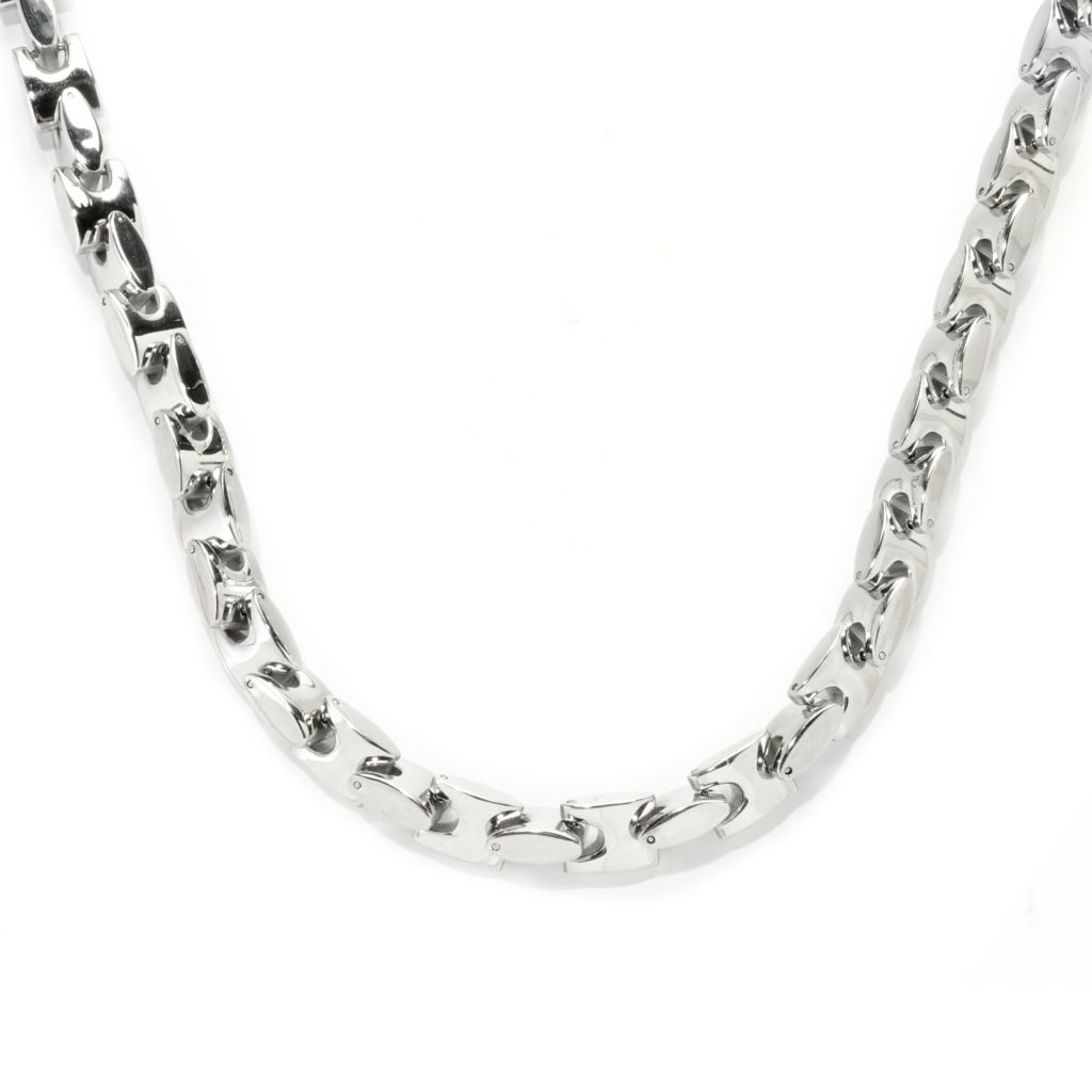 "138-113 - Steel Impact™ Men's Stainless Steel 24.25"" Polished Fancy Link Necklace"