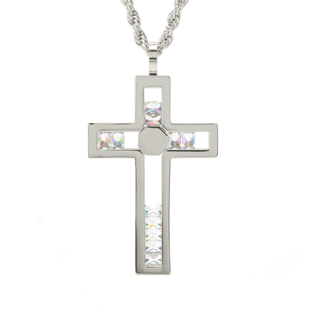 "138-115 - Steeltime Men's Stainless Steel Simulated Diamond Cross Pendant w/ 30.25"" Rope Chain"