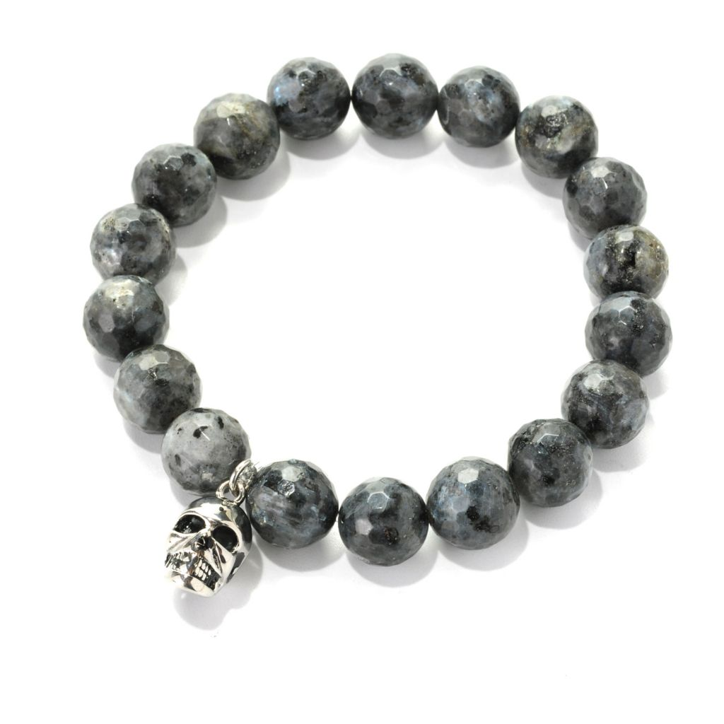 138-116 - Steeltime Men's Stainless Steel 12mm Agate Beaded Skull Charm Stretch Bracelet