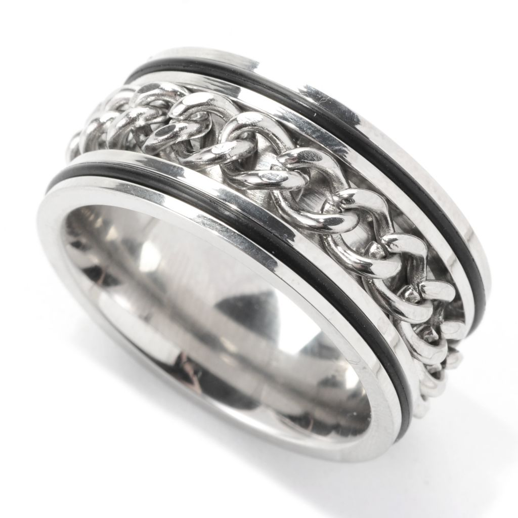 138-117 - Steeltime Men's Stainless Steel Curb Link Chain Spinner Band Ring