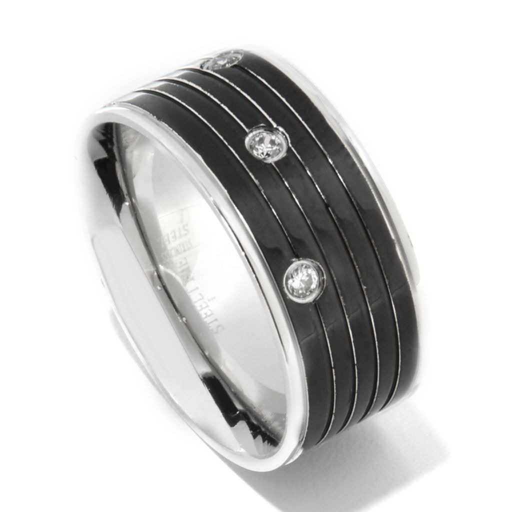138-120 - Steeltime Men's Two-tone Stainless Steel Simulated Diamond Band Ring