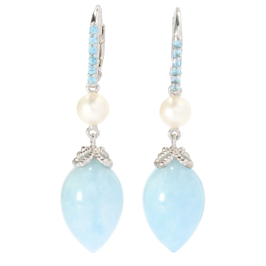 "138-123 - Gem Treasures Sterling Silver 1.5"" Aquamarine & Multi Gemstone Drop Earrings"