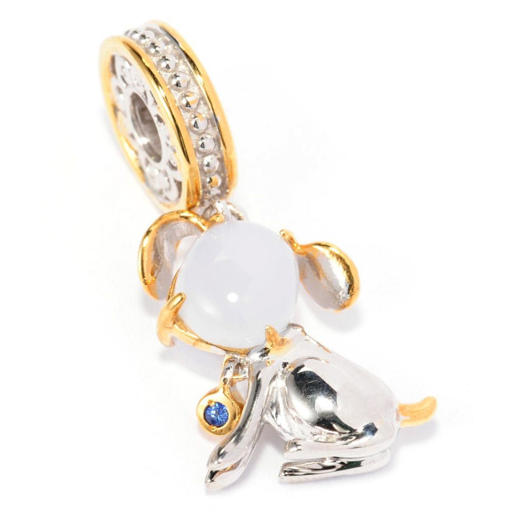 138-125 - Gems en Vogue Sky Blue Chalcedony & Sapphire Sculpted Dog Charm